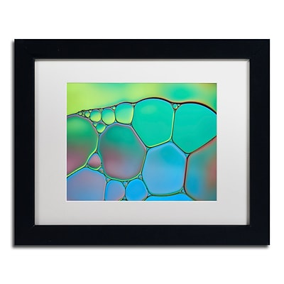 Trademark Fine Art Cora Niele Lime Green and Blue Stained Glass 11 x 14 Matted Framed (190836253708)