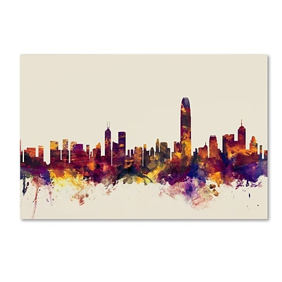 Trademark Fine Art Michael Tompsett Hong Kong Skyline 12 x 19 Canvas Stretched (190836023271)