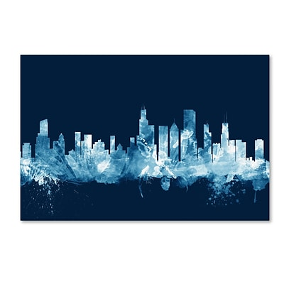Trademark Fine Art Michael Tompsett Chicago Illinois Skyline Navy 12 x 19 Canvas Stretched (190836095940)