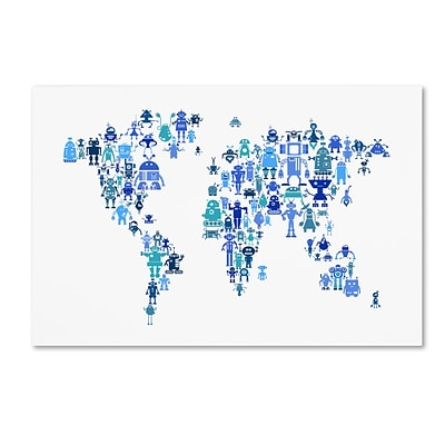 Trademark Fine Art Michael Tompsett Robot Map of the World Blue 12 x 19 Canvas Stretched (190836019458)