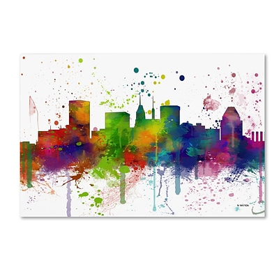 Trademark Fine Art Marlene Watson Baltimore Maryland Skyline Mclr-1 12 x 19 Canvas Stretched (190836202065)