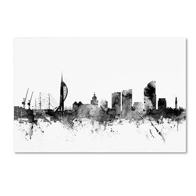 Trademark Fine Art Michael Tompsett Portsmouth England Skyline B&W 12 x 19 Canvas Stretched (190836108923)