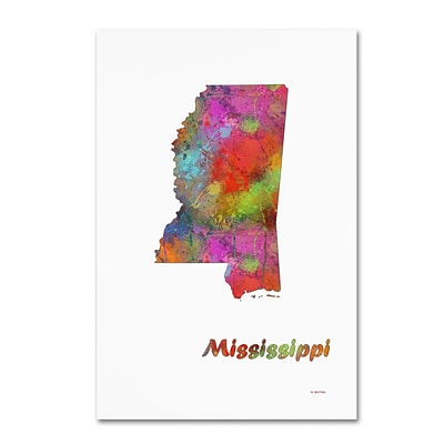 Trademark Fine Art Marlene Watson Mississippi State Map-1 12 x 19 Canvas Stretched (190836215645)