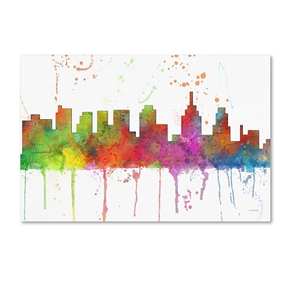 Trademark Fine Art Marlene Watson Philadelphia PA Skyline Mclr-1 12 x 19 Canvas Stretched (190836208784)