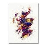 Trademark Fine Art Michael Tompsett Scotland Paint Splashes Map 2 14 x 19 Canvas Stretched (1908