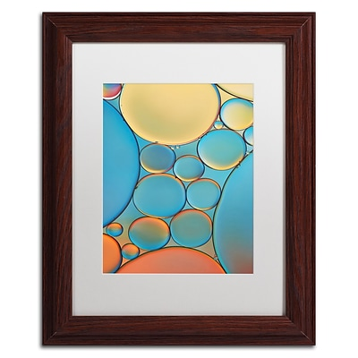 Trademark Fine Art Cora Niele Blue and Apricot Drops 11 x 14 Matted Framed (190836253265)
