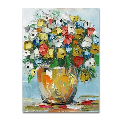 Trademark Fine Art Hai Odelia Spring Flowers in a Vase 3 14 x 19 Canvas Stretched (190836067442)