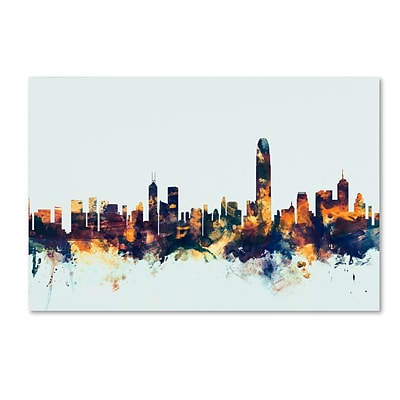 Trademark Fine Art Michael Tompsett Hong Kong Skyline Blue 12 x 19 Canvas Stretched (190836083022)