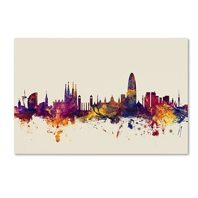 Trademark Fine Art Michael Tompsett Barcelona Spain Skyline 12 x 19 Canvas Stretched (190836024070)