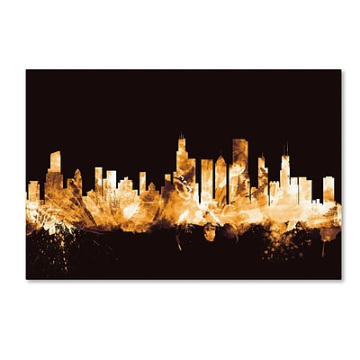 Trademark Fine Art Michael Tompsett Chicago Illinois Skyline Gold 12 x 19 Canvas Stretched (190836096305)