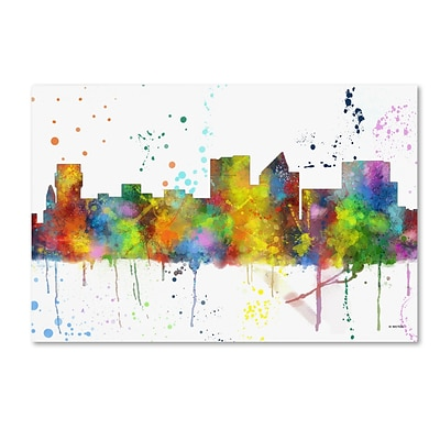 Trademark Fine Art Marlene Watson Witchita Kansas Skyline Mclr-1 12 x 19 Canvas Stretched (190836212286)