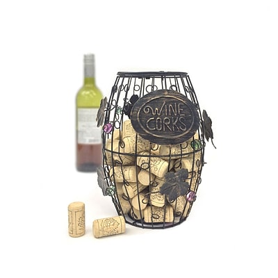 Mind Reader Corky Metal Wine Cork Holder with Ornaments, Bronze (WCORKH-BLK)