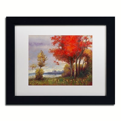 Trademark Fine Art Daniel Moises Landscape with Red Trees 11 x 14 Matted Framed (190836189052)