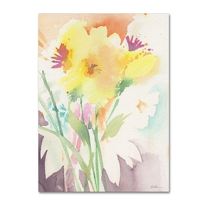 Trademark Fine Art Sheila Golden Yellow Flower Blossoming 14 x 19 Canvas Stretched (190836240104)