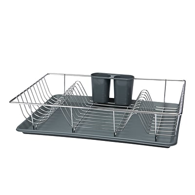 Kitchen Details 3 Piece Chrome Dishrack with Tray in Grey