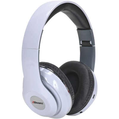 2BOOM HPBT380W Epic Jam Bluetooth Over Ear Headphones with Microphone (White)
