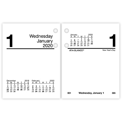 2020 AT-A-GLANCE 3 x 3 3/4 Compact Daily Loose-Leaf Desk Calendar Refill (E919-50-20)
