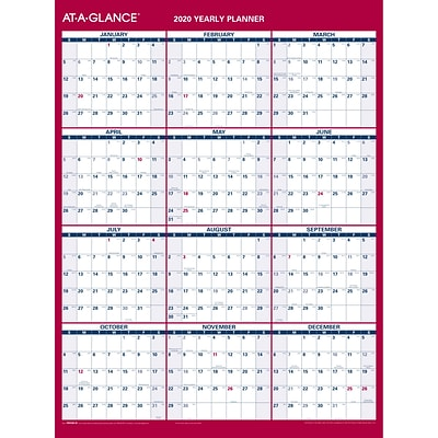2020 AT-A-GLANCE 12 x 15 11/16 Vertical/Horizontal Reversible Erasable Compact Wall Calendar (PM330B-28-20)