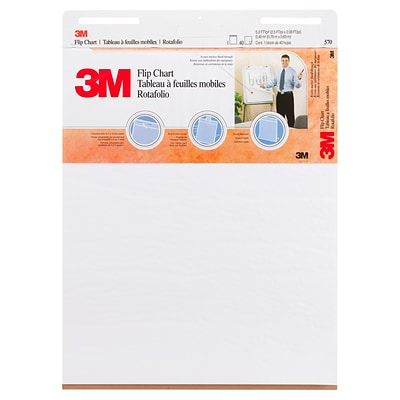 3M™ Flip Chart, 25 x 30, White, 40 Sheets/Pad, 2 Pads/Pack (570)