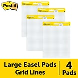 Post-it® Super Sticky Easel Pad, 25 x 30, White with Grid, 30 Sheets/Pad, 4 Pads/Pack (560 VAD 4PK