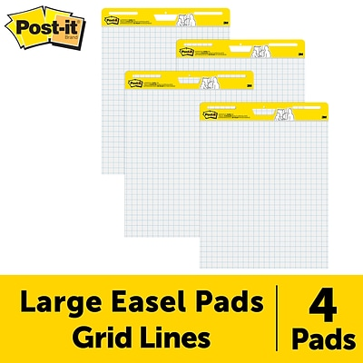 Post-it® Super Sticky Easel Pad, 25 x 30, White with Grid, 30 Sheets/Pad, 4 Pads/Pack (560 VAD 4PK)
