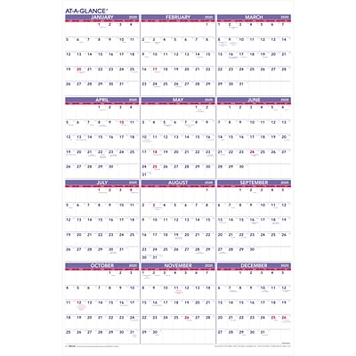 2020 AT-A-GLANCE 24W x 36H Yearly Wall Calendar (PM12-28-20)
