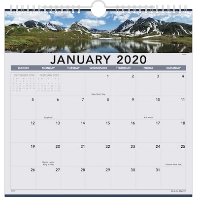 "2020 AT-A-GLANCE 12"" x 12"" Monthly Wall Calendar Landscape (88200-20)"