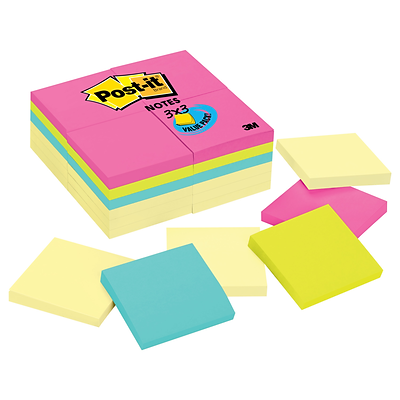 Post-it® Notes, 3 x 3, Canary Yellow, Jaipur Collection, 24 Pads (654-CYP-24VA)