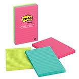 Post-it® Notes, 4 x 6, Cape Town Collection, Lined, 3 Pads/Pack (660-3AN)