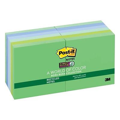 Post-it® Recycled Super Sticky Notes, 3 x 3, Bora Bora Collection, 90 Sheets/Pad, 12 Pads/Pack (654-12SST)