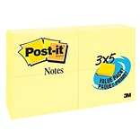 Post-it® Notes Value Pack, 3 x 5, Canary Yellow, 24 Pads (655-24VAD-B)