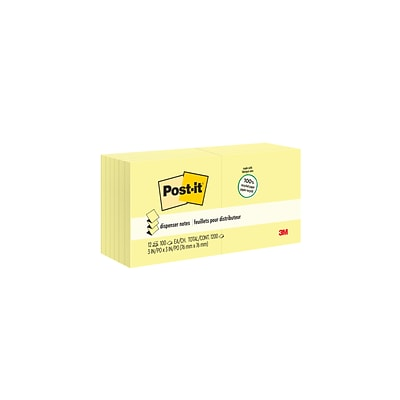 Post-it® Greener Pop-Up Notes, 3 x 3, Canary Yellow, Recycled, 12 Pads (R330RP-12YW)