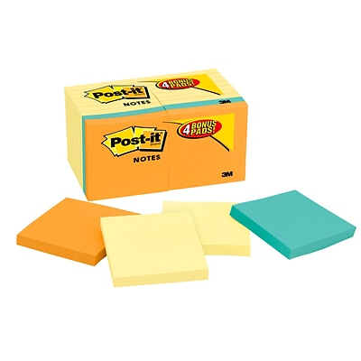 Post-it® Notes Value Pack, 3 x 3, Canary Yellow, Rio de Janeiro Collection, 18 Pads (654-14-4B)