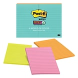 Post-it® Super Sticky Notes, 4 x 6, Miami Collection, Lined, 8 Pads (660-8SSMIA)