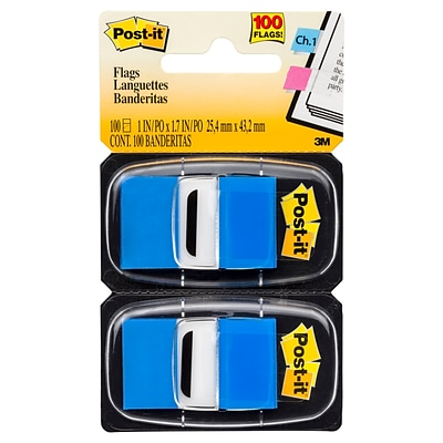 Post-it® Flags, 1 x 1.7, Blue, 100 Flags (680-BE2)