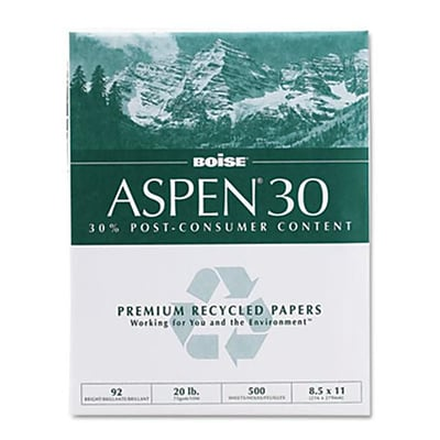 Boise® Aspen™ 30% Recycled Office Paper, Letter, 92/104+ US/Euro Brightness, 20 Lb, 8 1/2Hx11W, 5,000 Sheets/Ct (AZBOIS054901)