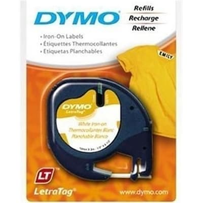 DYMO® LetraTag Fabric Iron-On Labels, 1/2 x 6 1/2 ft, White
