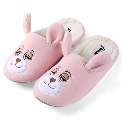 Aerusi Plush Animal Kid Slipper Pink Teddy Bear Size 1-3, EURO Size 34