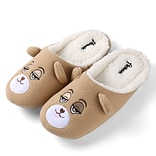 Aerusi Women Home Spa Plush Slipper Teddy Brown  Bear Size 11 - 12