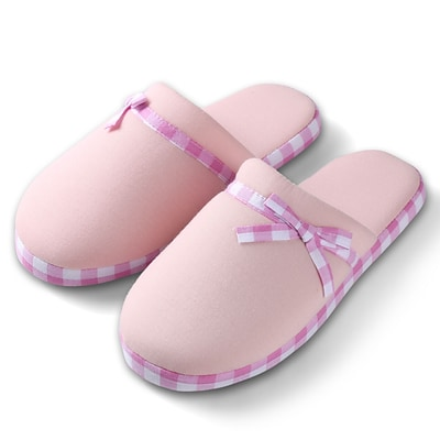 Aerusi Woman Checker Slide Slipper Pink Size 7 - 8