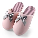 Aerusi Woman Waffle Stripes and Bow Slipper Pink Size 11 - 12