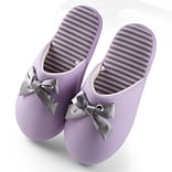 Aerusi Woman Waffle Stripes and Bow Slipper Purple Size 7 - 8