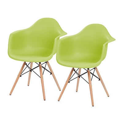 IRIS® Plastic Shell Chair With Arm Rest, 2 Pack, Green (586718)