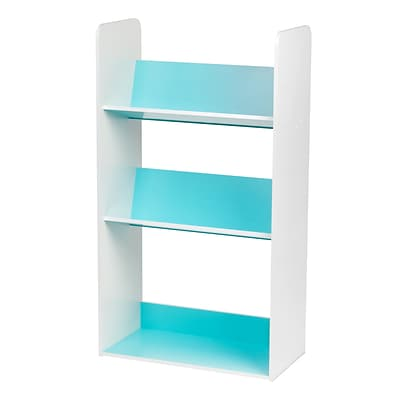 IRIS® 3 Tier Book Cart, White and Blue (596101)