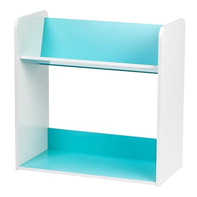 IRIS® 2 Tier Book Cart, White and Blue (596091)