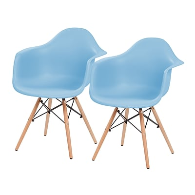 IRIS® Plastic Shell Chair With Arm Rest, 2 Pack, Blue (586722)