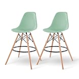 IRIS® Plastic Shell Bar Stool, 2 Pack, Light Green (586750)