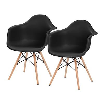 IRIS® Plastic Shell Chair With Arm Rest, 2 Pack, Black (586716)
