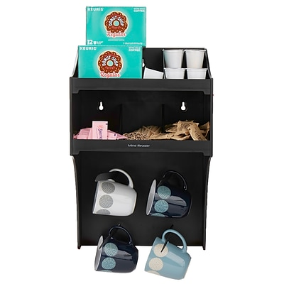 Mind Reader Commercial Wall Mount Organizer, Coffee Condiment Organizer with 4 Hooks, Black (COWMNT-BLK)