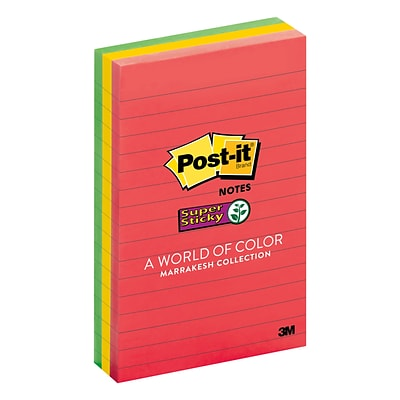 Post-it® Super Sticky Notes, 4 x 6, Marrakesh Collection, Lined, 3 Pads (660-3SSAN)